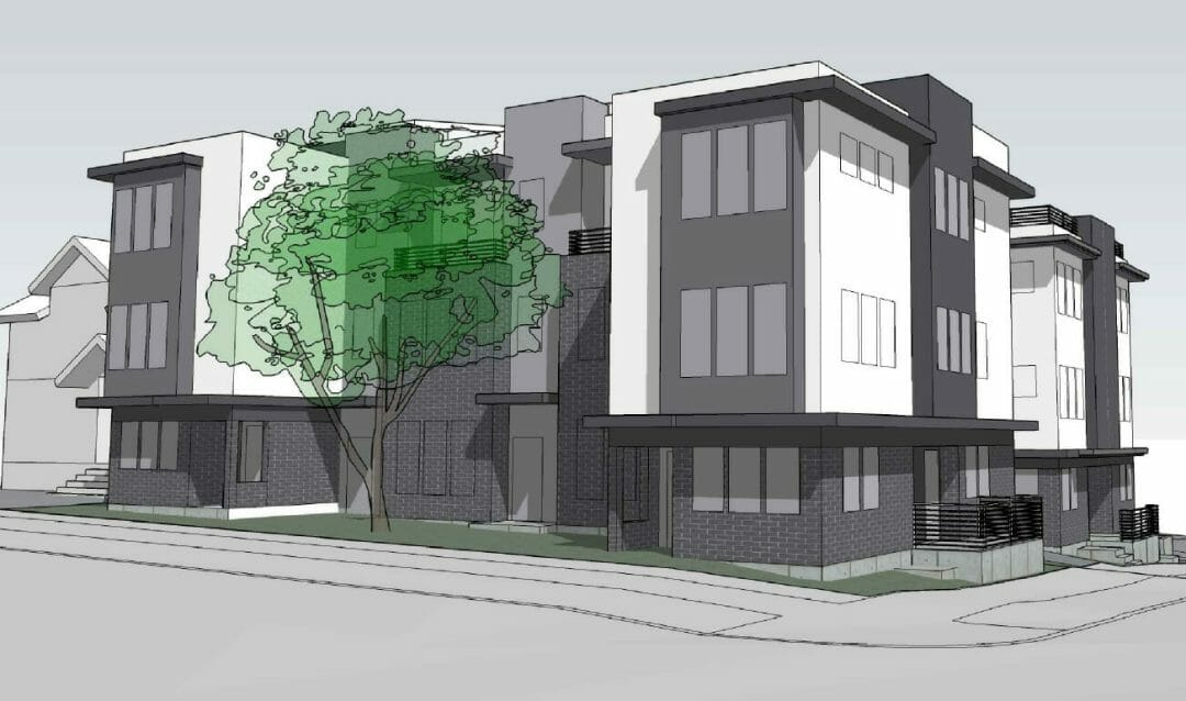 drawing of new construction townhome development in seattle, washington