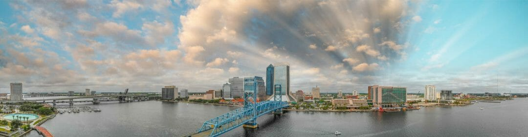View of Jacksonville Florida at sunset